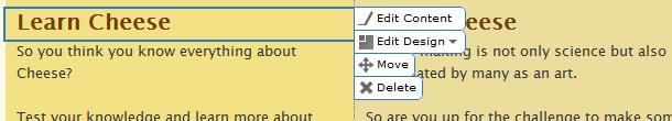 Edit Design Contextual Menu
