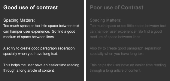 Color contrast in web design