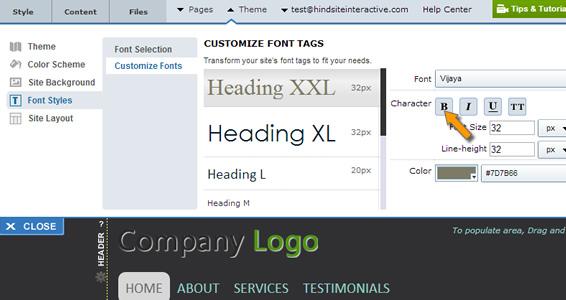 Custom font selection