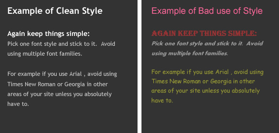 Good versus bad use of style in web design
