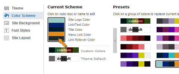Select Color and customize it