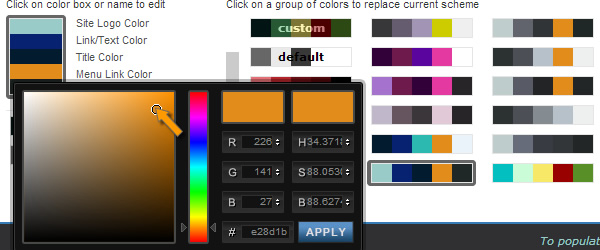 Select Color Scheme - color selection