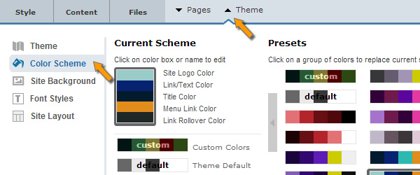 Color Scheme of website