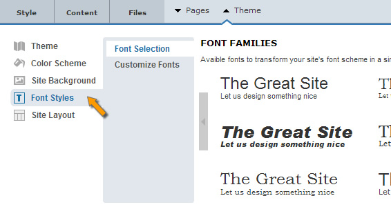 Site Builder Font Styles