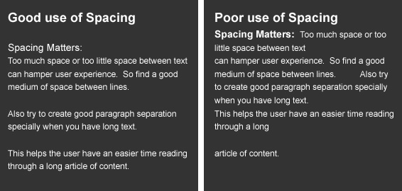 text spacing in web design
