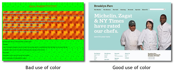 Good use of color versus bad color on websites